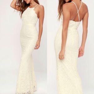 Lulu's Zenith Cream Lace Maxi Dress Formal S